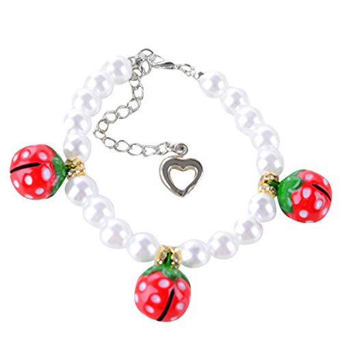 SMALLE ◕‿◕ Pet Collars,Cute Mini Pet Dog Cat Pearl Strawberry Bell Necklace Collar Pet Collar Jewelry ()