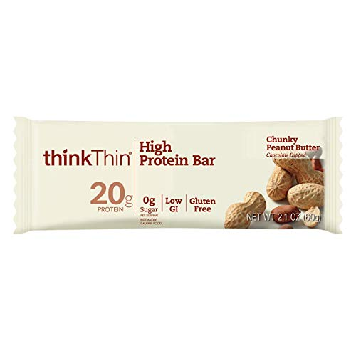 thinkThin High Protein Bars - Chunky Peanut Butter, 20g Protein, Low Sugar, Low Net Carbs, No Artificial Sweetners, Gluten Free, GMO Free, Nutritional Snack/Meal Bar, 10 Count