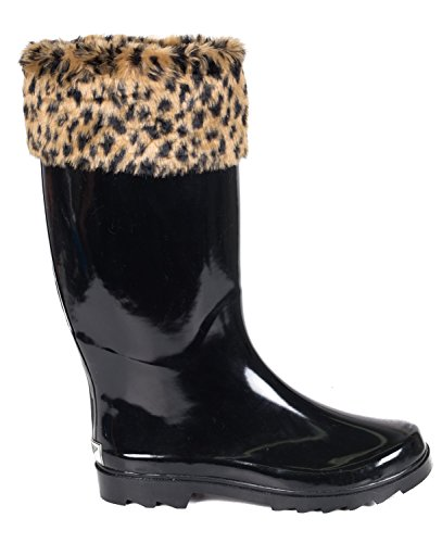 Women Rubber Rain Boots, Knit Sock Cuff & Quilted Styles by Forever Young Leopard Faux Fur Mock Sock