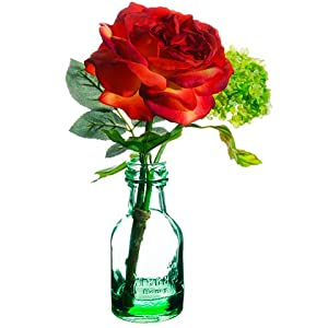"11.5"" Rose/Snowball in Glass Vase Red Green (pack of 12) 44"