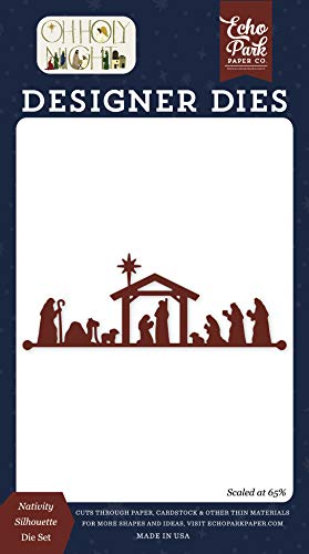 Set Green Die Cut (Echo Park Paper Company OHN161042 Nativity Silhouette Set Paper die red, Green, tan, Gold, Navy)
