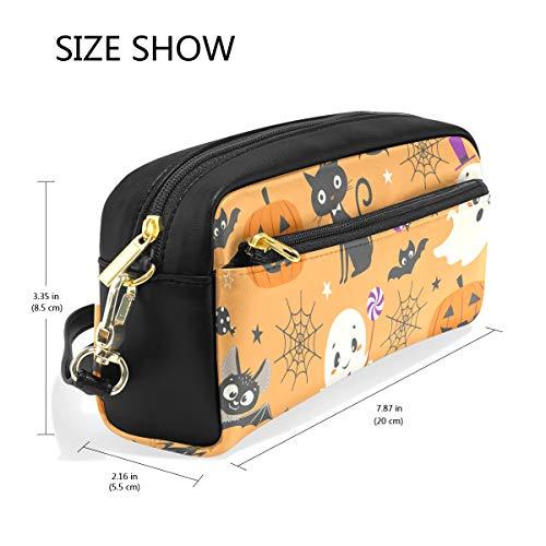 Pencil Case Cosmetic Bag Happy Halloween Pumpkin Wolf Desk Organizer Compartments School Office Supply -