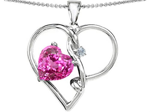 Star K Sterling Silver Large 10mm Heart Shaped Simulated Stone Knotted Heart Pendant
