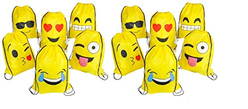 RIN EMOJI Assorted Emoticon Party Favors Drawstring