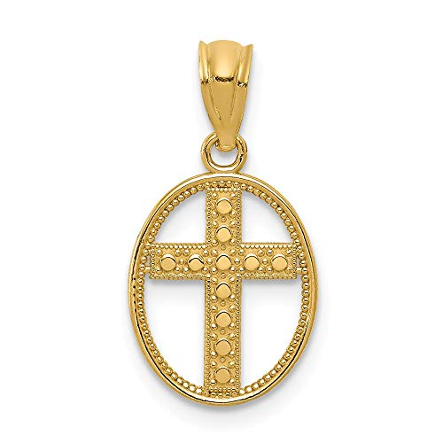 - Jewelry Stores Network 14k Yellow Gold Textured Cross Inside Open Oval Pendant 20x11mm