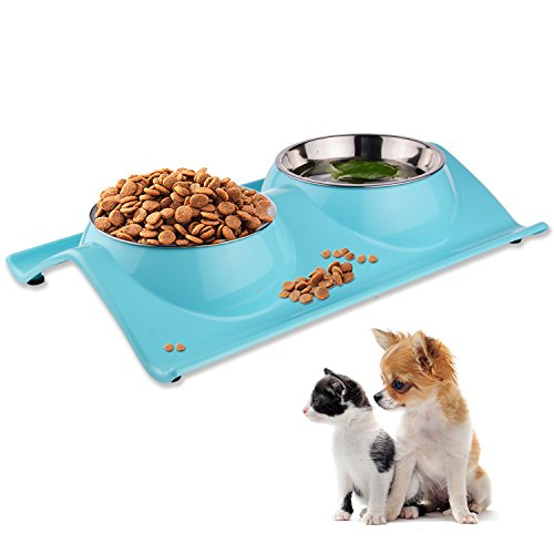 LOVE'S Dog Bowls Pet Food Bowl Raised Cat Puppy Bowls No Spill Elevated Eating Feeding Dog Bowl Set Water Feeder Small Animals No Tip Stainless Steel