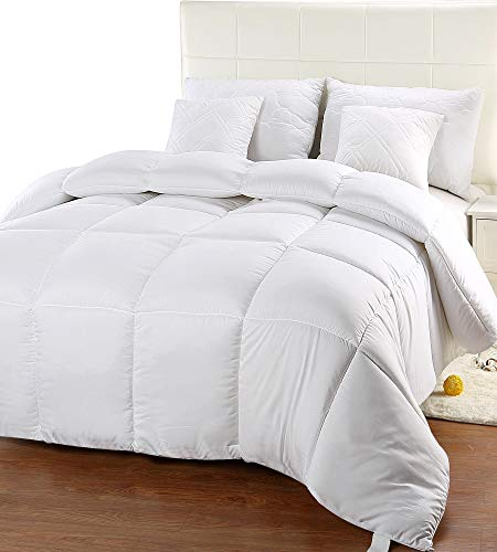 Utopia Bedding Comforter Duvet Insert - Quilted Comforter with Corner Tabs - Box Stitched Down Alternative Comforter (Twin, White)