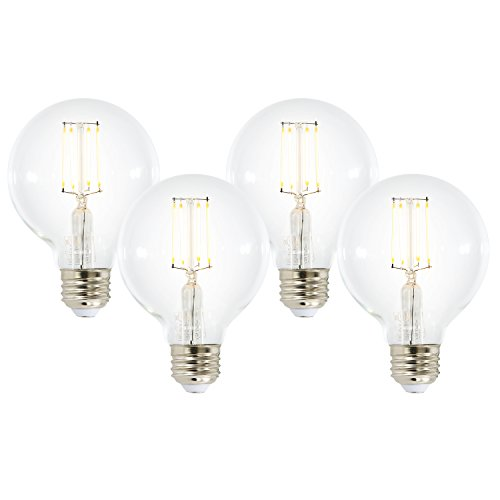 (Light Society Set of 4 Firenze G25 Clear LED Vintage Edison Filament Dimmable Light Bulbs - Energy Star Certified (LS-G25-LF62C-X4) )