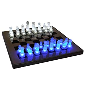LumiSource SUP-LEDCHES-BW LED Lightened Glow Chess Set, Blue/White