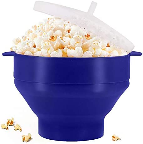 Original Microwaveable Silicone Popcorn Popper, BPA Free Collapsible Hot Air Microwavable Popcorn Maker Bowl, Use In Microwave or Oven (Blue)