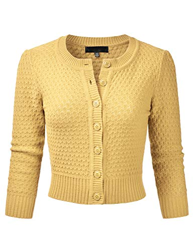 EIMIN Women's Crewneck Button Down 3/4 Sleeve Knit Crop Cardigan Sweater BABYYELLOW S