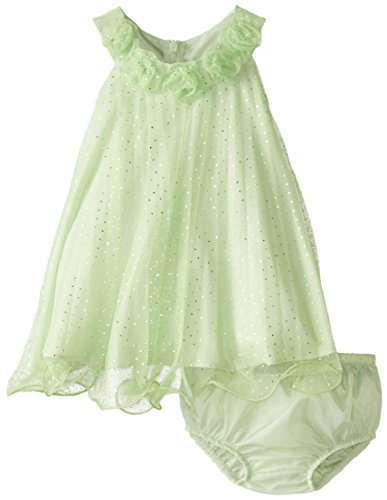 Bonnie Baby Baby Girls' Foil Mesh Crystal Pleat, Lime, 24 Months