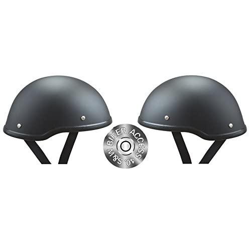 Small 21 1//2-22 Low Profile Novelty Harley Chopper Motorcycle Half Helmet Skull Cap Shiny Black