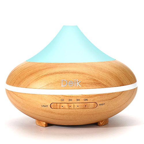 Aiho Deik Essential Oil Diffuser 200ml Quiet Ultrasonic Mist Cool Humidifier Aromatherapy Diffuser with 4 Timer Modes 7 LED Colors Auto Shutoff BPA Free for Home Yoga Office Spa Bedroom Baby Room