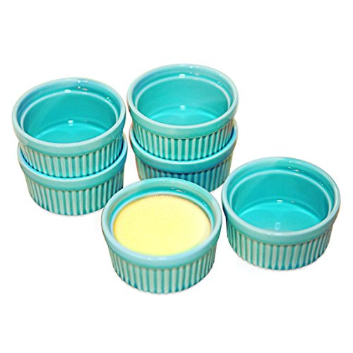 Ramekin Blue (Cinf Porcelain Ramekin Blue 4 oz. Pudding Bowls Dishes Cup For Baking, Set of 6,Souffle Cups Dishes, Creme Brulee, Custard Cups, Desserts, Oven, Microwave, Freezer and Dishwasher Safe)