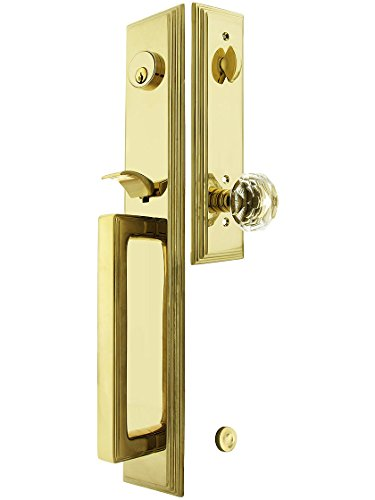 Melrose Style Tubular Handleset in Pvd with Diamonds Knobs and 2 3/4