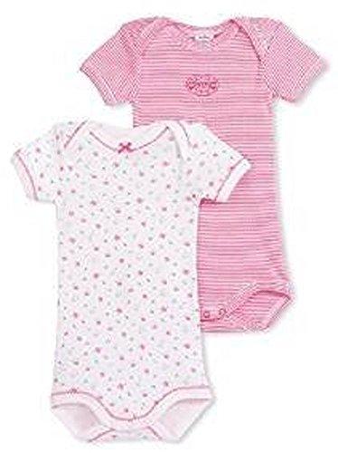 PETIT BATEAU S/S BABIES 2 PK. GIRLS BODYSUIT/ONESIE STRIPED/FLORAL STYLE 17286 SIZES 1/18/M (SIZE 6/M STYLE 17286)