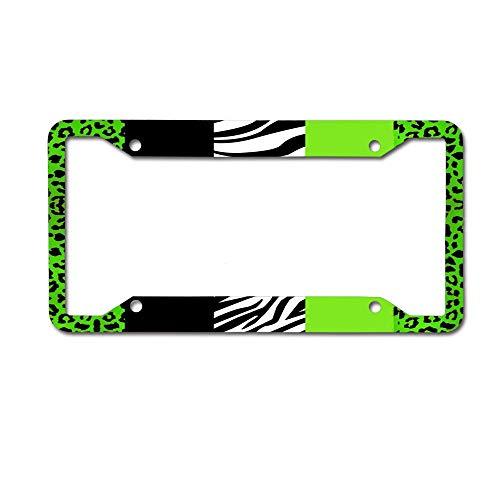 Green Zebra Animal Print - Mrsangelalouise Lime Green Animal Print Stripes Zebra Leopard License Plate Frame Car tag Aluminum Car Licence Plate Cover for US Standard 4 Holes Screws