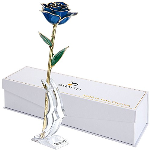 Rose Blue Flower (DEFAITH Blue 24K Gold Rose, Unique Anniversary Gifts for Mother Wife Girlfriend Her Women, Made from Real Rose Flower with Stand)