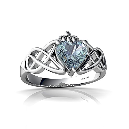 14kt White Gold Aquamarine 6mm Heart Claddagh Celtic Knot Ring - Size 7