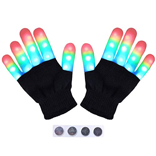 HITOP Kids Led Gloves, Flashing Colorful Light Up Show for Halloween