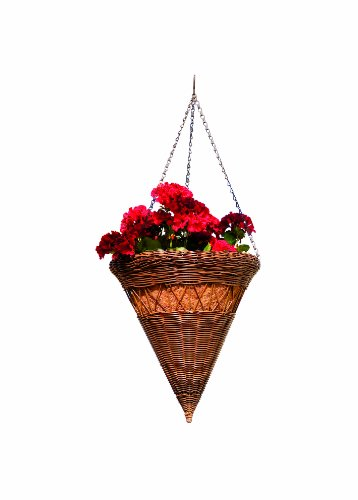 DMC Products 14-Inch Cone Resin Wicker Hanging Basket with Chain Hanger, Antique Brown Dmc Products Antique Planter