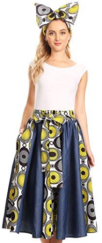 Mid Colorful Ankara Taille Dayo Wax avec Sakkas Skirt lastique Waxwhitemarimekko10 Circle Dutch African qEOc0f
