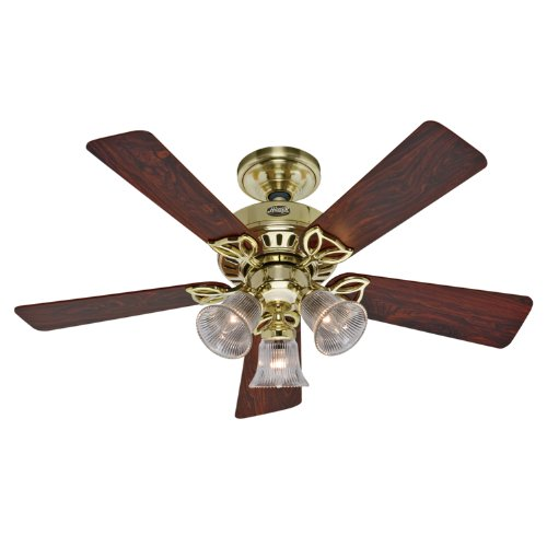 Hunter 20434 The Beacon Hill Three-Light 42-Inch Five-Blade Ceiling Fan, Bright Brass with Clear - Bright Ceiling Hunter Brass Fan