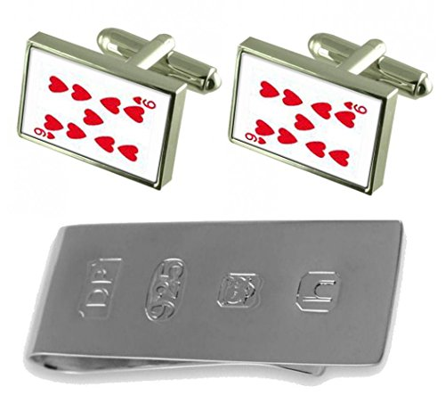 Card Number 9 amp; Gifts Select Heart Money Bond Cufflinks Playing Clip James wqtAFCxS