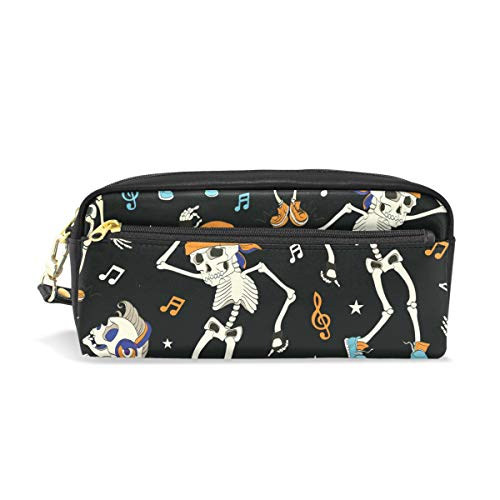 MERRYSUGAR Pencil Case Skull Halloween Music Note Black Cosmetic Makeup Zipper Bag Pencil Bag for Girls Boys School Kids Stationery Pouch Bag Leather Large -