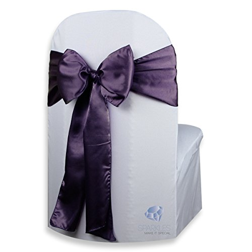 Sparkles Make It Special 100 pcs Satin Chair Cover Bow Sash - Plum Purple - Wedding Party Banquet Reception - 28 Colors Available -