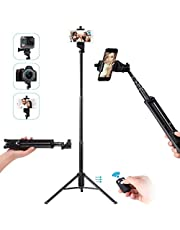 Ottertooth Selfie Stick Tripod, Extra Long 137 cm Extendable Tripod Stand with Wireless Remote Shutter, Camera Tripod, Phone Tripod, (AU1-1688)
