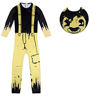 Boys Scary Costumes Horror Character Cosplay Jumpsuit Party Carnival Bodysuit Black