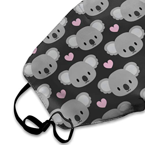 Face Masks, Breathable Dust Filter Masks Medical Mask Mouth Cover Masks with Elastic Ear Loop (Cute Koala Heat Grey Print)
