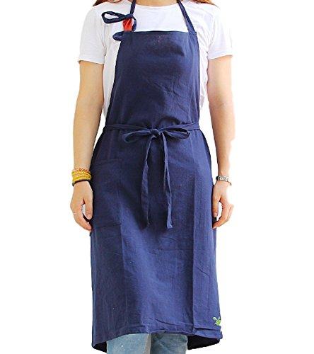 Moon Market Unisex Bib Kitchen Apron Chef Apron Front Pockets Japanese Style Soft Cotton Linen (Navy)