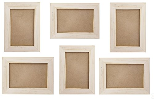 Unfinished Wood Picture Frames, 4x6 Picture Frame Set, DIY Wooden Photo Frame, For Arts and Crafts, Painting, Projects, Bulk Set of 6 (6x8 Frame Size Holds 6x4 Pictures) Includes Standing - Frames Wooden Unfinished