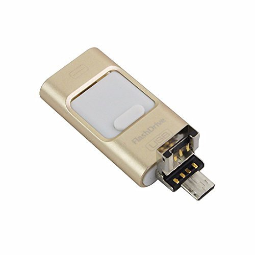 3-in-1 OTG USB 3.0 Flash Drive U Disk Memory Stick Storage Adapter USB Flash Drive For iPhone Android Cell Phone Computers (256GB, Gold)
