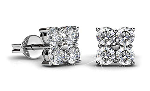 Jade Marie CHARISMATIC 18K White Gold Plated Square Stud Earrings, Silver Earrings with 8 3mm Swarovski Crystals, Small Cluster Stud Earring Set for Women, Beautiful Sparkling Crystal Gems