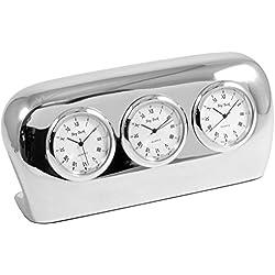 Salzburg Three Time Zone Clock in Silver
