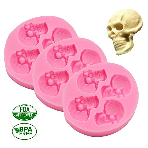 Chocolate Candy Molds, Halloween Skulls Silicone, Fondant Mold for Cake Decoration Wedding Party Supplies Set of -
