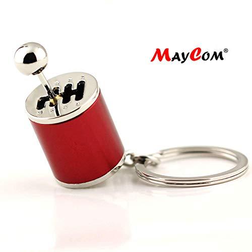 Maycom Creative Auto Part Model Gear Box Keychain Six-Speed Manual Transmission Shift Lever Keyring Key Chain Ring Keyrings Keyfob (Wine Red)