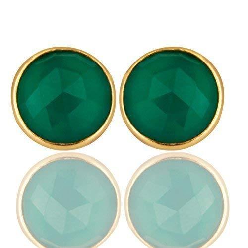 Green Onyx Round Bezel Gemstone Sterling Silver Stud Earrings