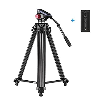Image of Andoer Video Tripod-67 Inch Professional Video Trideo System with Fluid Hydraulic Head Spare Quick Release Plate Max Load 22LB Complete Tripods