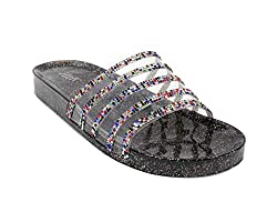 Jelly Glitter Summer Slide Multi Color Sandal