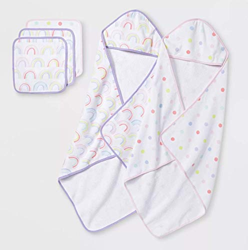 Baby Girl's Lavender/Pink Hooded Towels and Washcloth Set from Cloud Island