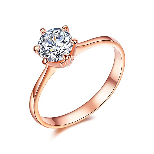 SPILOVE Serend 18k Rose Gold Plated 1 Carat Round Cubic Zirconia Solitaire Wedding Engagement Band Rings, Size 6.5