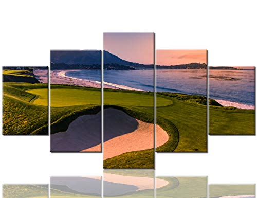 (5 Panel Canvas Wall Art for Living Room American California Golf Course Pictures Home Decor Green Lawn and Ocean Paintings Contemporary Artwork Framed Ready to Hang Posters and Prints(60''Wx32''H) )