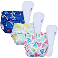 Basic by Superbottoms - Pack of 3 | 3 Certified Soft Fleece Lined Pocket Diaper with 3 Wet Free Insert with Snaps