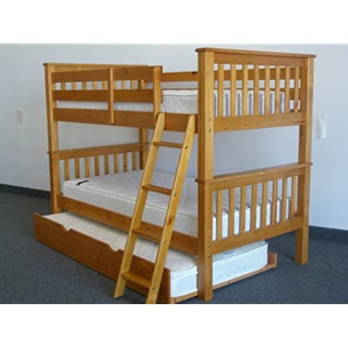 Superb Bedz King Bunk Bed With Twin Trundle, Twin Over Twin Mission Style, Honey
