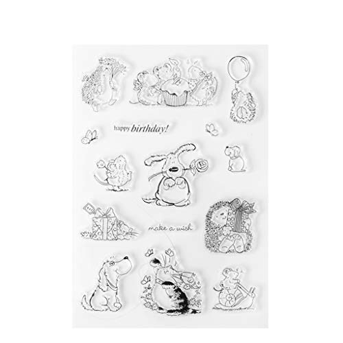 JUA PORROR Happy Birthday Clear Stamp Silicone Seal Sheet DIY for Scrapbook Card Album S33